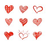 Vector Doodle Hearts Set Isoalted on White Background, Red Marker Drawings Collection. Vector Doodle Hearts Set Isoalted on White Background, Red Marker stock illustration