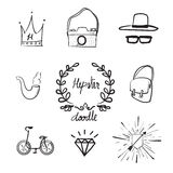 Vector : Doodle hipster object set royalty free illustration