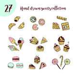 Vector doodle icon set with sweets. Royalty Free Stock Photos