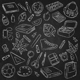 Vector Doodle Icons Collection. School supplies. Back to school, the first day of study. Background, pattern, wallpaper. Vector Doodle Icons Collection. School Royalty Free Stock Photo