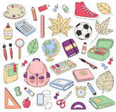 Vector Doodle Icons Collection. School supplies. Back to school, the first day of study. Background, pattern, wallpaper vector illustration