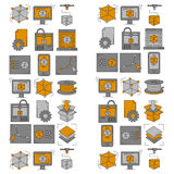 Vector doodle icons 3d printing. Linear set Stock Image