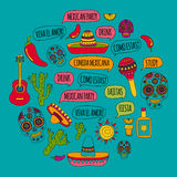 Vector doodle icons Mexican party Hello How are you Food Drinks Stock Photo