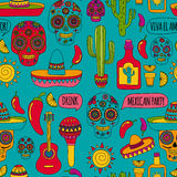 Vector doodle icons Mexican party Hello How are you Food Drinks. Mexican party Vector hand drawn images Nature, culture, food and drinks Stock Images