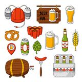 Vector doodle icons. Set of beer symbols. Beer helmet, mug, glass, sausage, barrel, beer pong Stock Image
