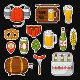 Vector doodle icons. Set of beer symbols. Beer helmet, mug, glass, sausage, barrel, beer pong Stock Photo