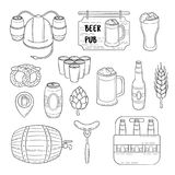 Vector doodle icons. Set of beer symbols. Beer helmet, mug, glass, sausage, barrel, beer pong Royalty Free Stock Photo