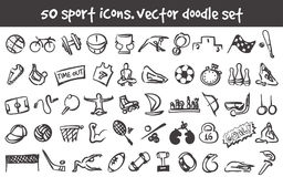 Vector doodle icons set. Vector doodle sport icons set. Stock cartoon signs for design Stock Image