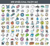 Vector doodle icons set. Stock cartoon signs for design Stock Photo