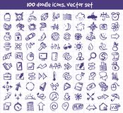 Vector doodle icons set. Stock cartoon signs for design Royalty Free Stock Photo