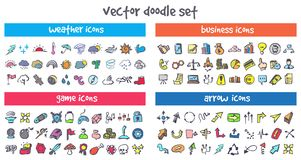 Vector doodle icons set. Stock cartoon signs for design Royalty Free Stock Photography