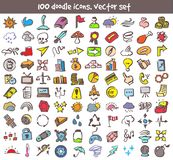 Vector doodle icons set. Stock cartoon signs for design Stock Image