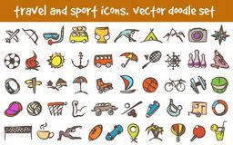 Vector doodle icons set. Vector doodle travel and sport icons set. Stock cartoon signs for design Stock Images