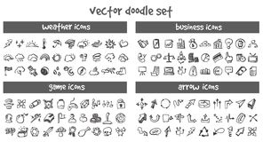 Vector doodle icons set. Stock cartoon signs for design Stock Photography