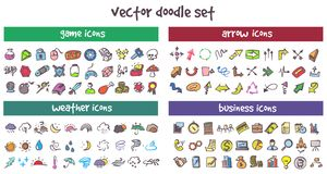 Vector doodle icons set. Stock cartoon signs for design Royalty Free Stock Photos