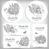 Vector doodle illustration with animals cards set. Coloring book anti stress Royalty Free Stock Photos