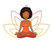 Vector doodle illustration of cute young african girl meditating in lotus pose with flower petals behind. Stock Photo