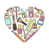 Vector doodle  illustration of manicure and pedicure equipment. In a heart shape. Hand made Royalty Free Stock Photos