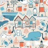 Vector doodle illustration. North sea. Scandinavian style. Seaml. Ess pattern with lighthouse, boat, marine animals, whale, killer whale, crabs gull fish sea Stock Photo