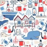 Vector doodle illustration. North sea. Scandinavian style. Seaml. Ess pattern with lighthouse, boat, marine animals, whale, killer whale, crabs gull fish sea Royalty Free Stock Photos