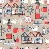 Vector doodle illustration. North sea. Scandinavian style.. Vector doodle illustration. North sea. Scandinavian style. Seamless pattern with lighthouse, gull Royalty Free Stock Photos
