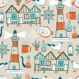 Vector doodle illustration. North sea. Scandinavian style.. Vector doodle illustration. North sea. Scandinavian style. Seamless pattern with lighthouse, gull Stock Image