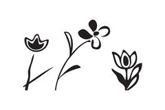 Vector doodle illustration pattern simple flowers  Royalty Free Stock Photo