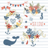 Vector doodle illustration in sea theme. Collection of sea bouquets, animals and symbols on the seamless stripes pattern background. Save the date set Royalty Free Stock Photography