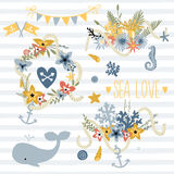 Vector doodle illustration in sea theme. Collection of sea bouquets, animals and symbols on the seamless stripes pattern background. Save the date set Royalty Free Stock Photo