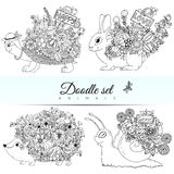Vector doodle illustration set of animals. Coloring book is anti-stress for adults   Stock Photos