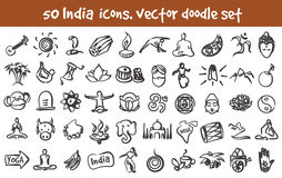 Vector doodle India icons set Stock Photography