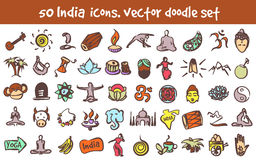 Vector doodle India icons set Royalty Free Stock Photos