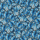 Vector doodle leaves pattern. Wavy pattern created for background. Wallpaper, textile, web design Stock Images