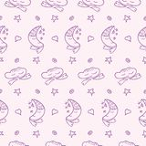 Vector doodle moons, clouds, hearts, stars pattern vector illustration