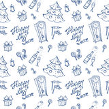Vector doodle New Year elements seamless pattern Stock Photography