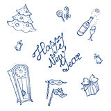 Vector doodle New Year elements set in sketch Royalty Free Stock Photography