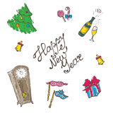 Vector doodle New Year elements set in sketch Royalty Free Stock Image