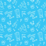 Vector doodle New Year seamless pattern in sketch Stock Photos