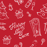 Vector doodle New Year seamless pattern in sketch Stock Image
