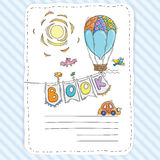 Vector doodle page for kids and children. Balloon and festive garland of flags. Child magazine Stock Photo