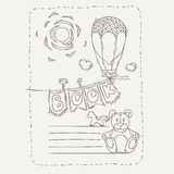 Vector doodle page for kids and children. Balloon and festive garland of flags. Child magazine Stock Photos
