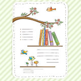 Vector doodle page for kids and children. Bookshelf and toys. Stock Photo