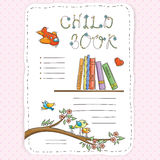 Vector doodle page for kids and children. Bookshelf and toys. Stock Photos
