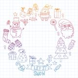 Vector doodle pattern with Christmas icons. stock illustration
