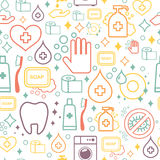 Vector doodle pattern of cleaning tools. Cleaning Royalty Free Stock Image