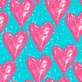 Vector doodle pattern with heats, made of brush stroke, seamless background. Vector doodle pattern with heats, made of brush stroke. Bright pink and blue Stock Photo