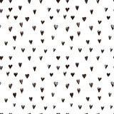 Vector doodle pattern with heats, made of brush stroke. Seamless background Stock Photography