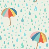 Vector doodle pattern with rain drop and umbrella. Beautiful abstract pattern, season illustration. Seamless fabric background Royalty Free Stock Photography