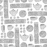 Vector doodle pattern of  yarn, scarf, cup and teapot Royalty Free Stock Photos