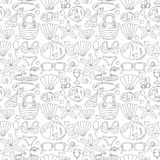 Vector doodle pictures of beach vacation and tropical sea life Stock Photo